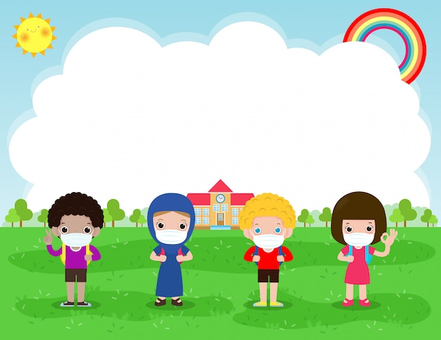 新しい通常のライフスタイルのコンセプトのために学校に戻る。幸せなグループの多様な子供とフェイスマスクを身に着けているさまざまな国籍の保護コロナウイルスcovid-19、ポスターの背景イラスト