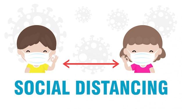 Профилактика коронавируса, социальное дистанцирование, дистанция между мальчиками и девочками на предмет риска заражения и болезней, ношение хирургической защитной медицинской маски для предотвращения вируса covid-19. концепция здравоохранения.