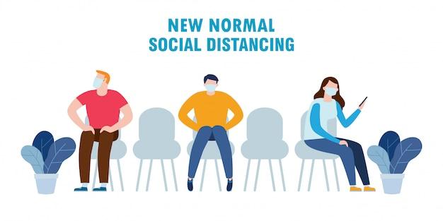 Концепция социального дистанцирования, люди в медицинских масках на сиденье во время covid-19. новый нормальный образ жизни в ежедневной после вспышки коронавируса изолированной на белой иллюстрации предпосылки.