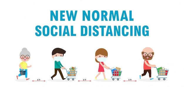 医療フェイスマスクの男性と女性がスーパーで食料品を購入します。社会的距離の概念。 covid-19の病気の拡大を避けてください。