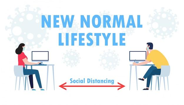 ビジネスオフィスの人々のチームワークの社会的距離概念は、仕事で新しい通常のライフスタイルを維持します。 covid-19コロナウイルス分離イラストを停止します
