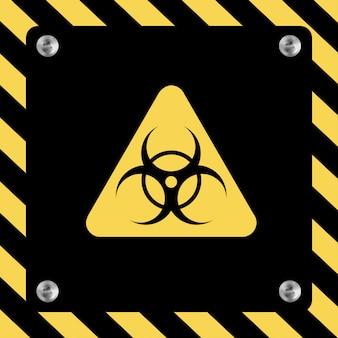 Covid-19バイオハザード警告ポスター。危険およびバイオハザードの警告サイン。コロナウイルスの発生。