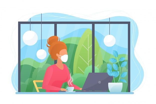 Covid-19検疫ウイルスの間は家で仕事をし、ウイルス感染を防ぎます。ホームオフィスでラップトップコンピューターを使用して若いきれいな女性。社会的距離概念フラットイラスト。
