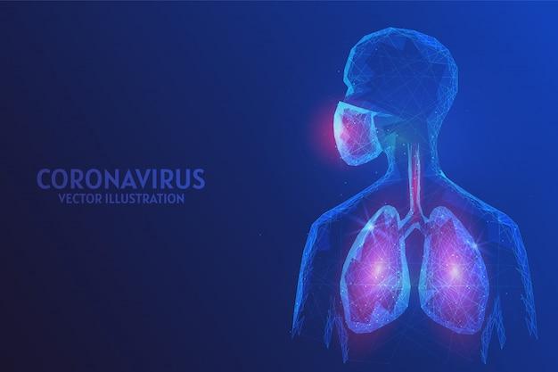 Человек в хирургической маске. защита от заражения китайским коронавирусом вирусной инфекции covid-19. пандемия и эпидемия атипичной пневмонии. низкополигональная каркасная иллюстрация.