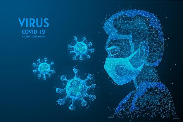医療用マスクで顔のクローズアップ、彼の周りに広がるウイルス感染。 covid-19コロナウイルスの概念、革新的な医療技術。低ポリワイヤフレームの図。