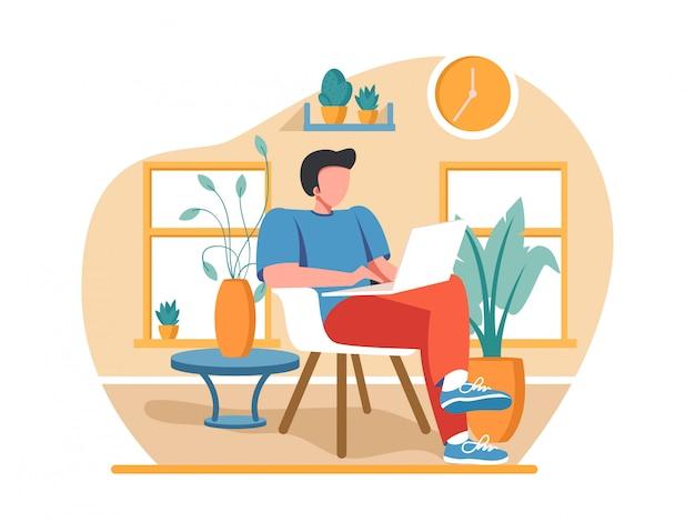 Иллюстрации концепции коронавируса covid-19. компания позволяет сотрудникам работать из дома, чтобы избежать вирусов.