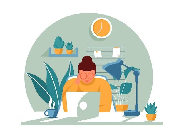 イラストコンセプトコロナウイルスcovid-19。同社は従業員が自宅でウイルスを回避するために働くことを許可しています。