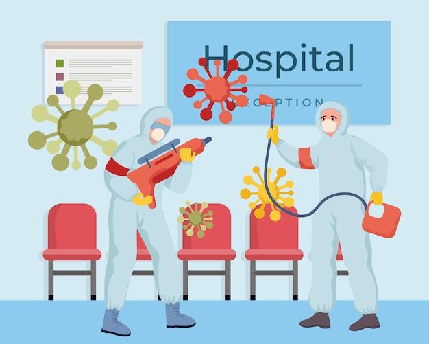 Медицинские работники дезинфицируют больницу во время глобальной пандемии иллюстрации коронавируса covid-19.