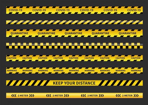 Предупреждение covid-19 карантинных лент. черно-желтая полосатая полоса. социальная дистанцирующая лента.