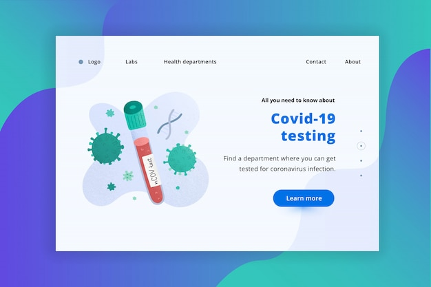 Covid blood test web landing page template