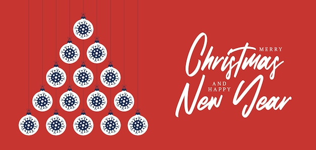 Covid 크리스마스와 새 해 인사 평면 만화 카드
