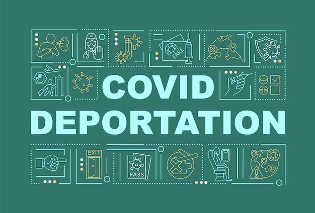Covid deportation green word concepts banner
