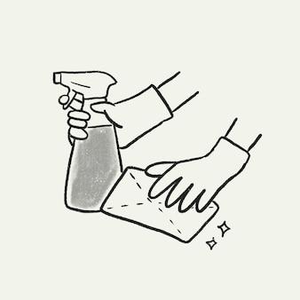 코비드 소독, 위생 벡터, 손으로 그린 새로운 일반 스티커