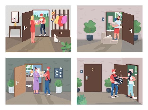 Набор иллюстраций плоской концепции доставки covid lockdown курьер и клиент в масках героев мультфильмов услуги доставки во время сбора творческих идей пандемии