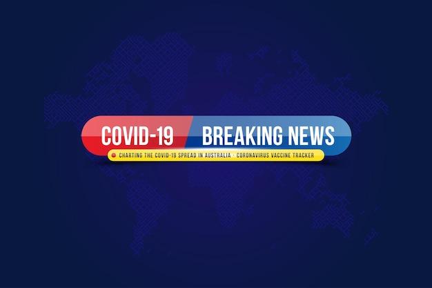 세계지도가있는 스크린 tv 채널의 covid 뉴스 템플릿 제목