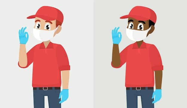 Вспышка вируса covid или corona доставщик или курьер в маске и перчатках показывает знак `` ок ''