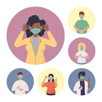 Covid prevention, group people wearing medical mask  illustration design