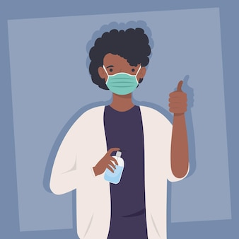Covid prevention, man afro wearing medical mask with bottle antibacterial in hands  illustration design