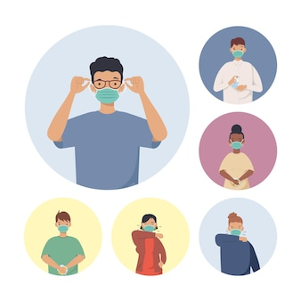 Covid prevention, young people wearing medical mask  illustration design