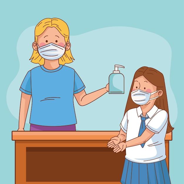 教師と生徒の女の子との学校のシーンでのcovid予防