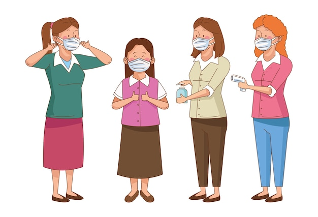 Covid preventive at school scene with teachers wearing face masks