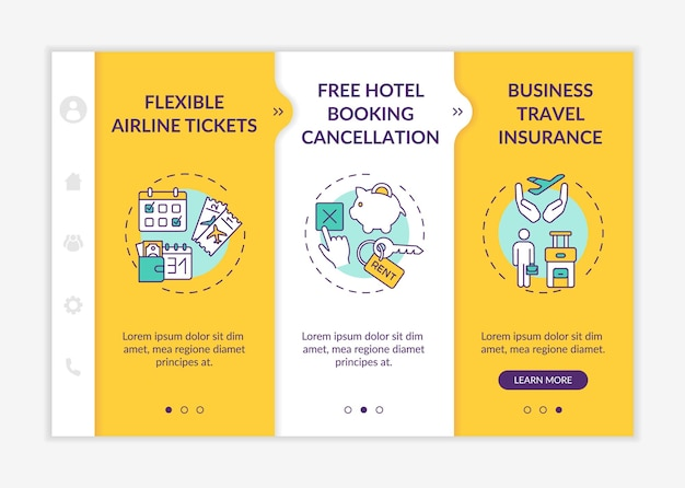 Covid related marketing tips onboarding  template. flexible airline tickets. hotel booking cancellation. responsive mobile website with icons. webpage walkthrough step screens. rgb color concept