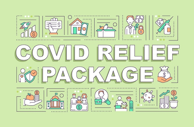 Covid relief package word concepts banner