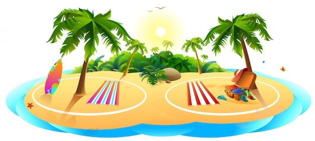 夏休みのcovid安全なビーチ。海のヤシの木の砂は休憩するのに安全な場所です