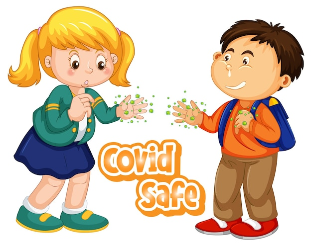 Covid safe font design with two kids show their dirty hands on white background