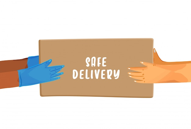 Covid検疫中のsave delivery servicesおよびe-commerceの安全な配信漫画バナー。小包を与える手袋の手、および安全な配達のレタリングが付いたパッケージを受け取る手