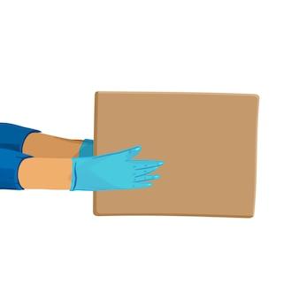 Covid検疫中のsave delivery servicesおよびe-commerceの安全な配信漫画バナー。小包を与える手袋の手。