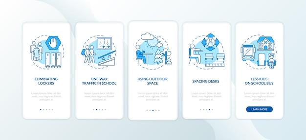 コンセプトを備えたモバイルアプリのページ画面をオンボーディングするcovid学校の安全規則