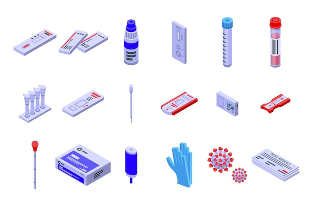 Covid test icons set. isometric set of covid test vector icons for web design isolated on white background