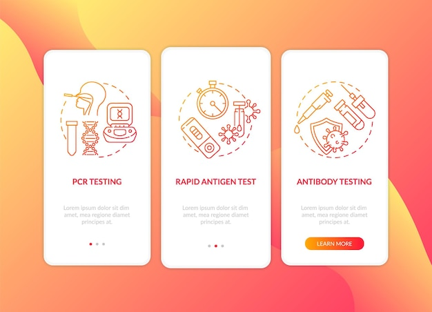 Covid testing types onboarding mobile app page screen template