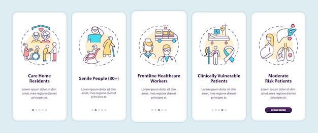 Список приоритетов вакцинации против covid иллюстрация экрана страницы мобильного приложения