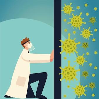 Covid 바이러스 보호 및 남자 의사가 얼굴 마스크와 코로나 바이러스 테마로 밀고 있습니다.