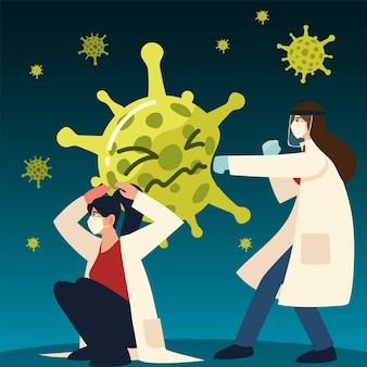 코로나 바이러스 테마의 마스크와 장갑을 착용 한 covid 바이러스 보호 및 여성 의사