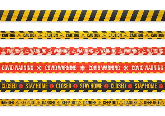 Covid warning. stay home. closed. different warning tapes isolated on white