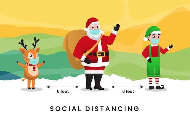 귀여운 크리스마스 만화가 있는 covid19 및 사회적 거리 인포그래픽