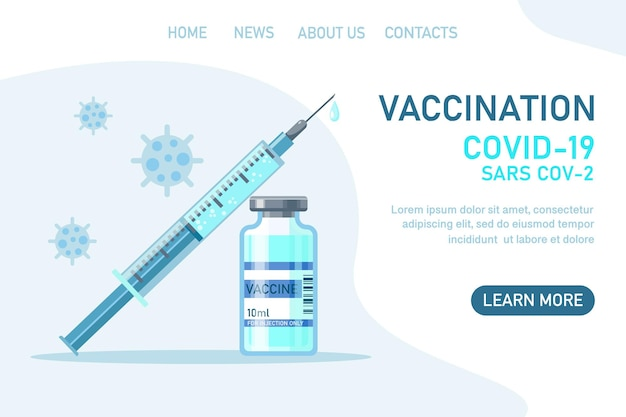 Covid19 corona virus vaccination with vaccine bottle and syringe injection tool for immunization