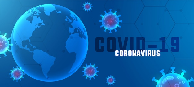 Covid19 coronavirus outbreak banner with floating viruses