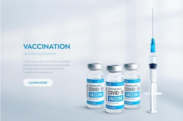Covid19コロナウイルスワクチンのコンセプト 金属製のキャップと注射器を備えたリアルな医療用ガラスバイアル