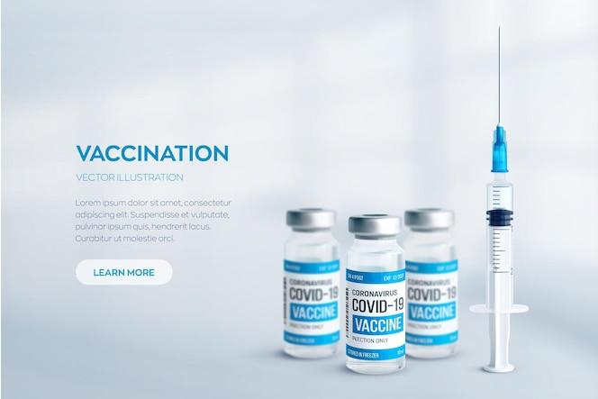 Covid19 코로나 바이러스 백신 개념 금속 모자와 주사기와 현실적인 의료 유리 병