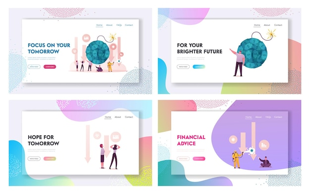 Covid19 and global economy crisis landing page template set.