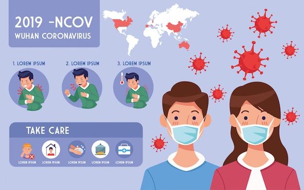 Листовка о пандемии covid19 с парой с использованием дизайна иллюстрации infographics лицевых масок