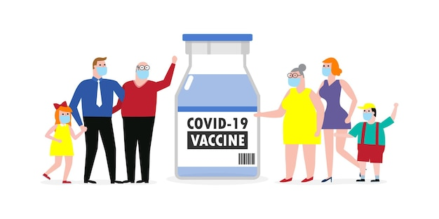 Covid19 또는 코로나바이러스 2019ncov 백신 개념 흰색 배경 벡터 일러스트 레이 션에 고립 된 아빠 엄마 딸 아들에 대 한 백신 약병으로 보호 의료 마스크를 착용 하는 행복 한 가족
