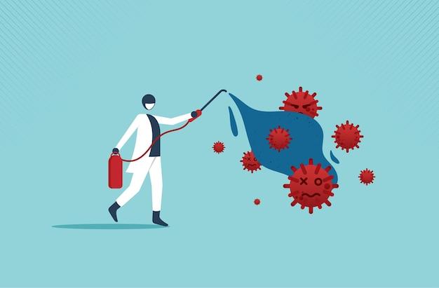 Covid19またはコロナウイルスは、ウイルス病原体をきれいに消毒して殺し、発生拡大の概念を防ぎます