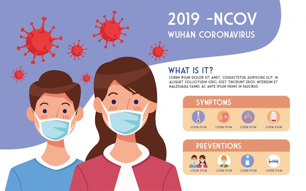 Covid19 pandemic flyer with couple using face masks infographics  illustration design