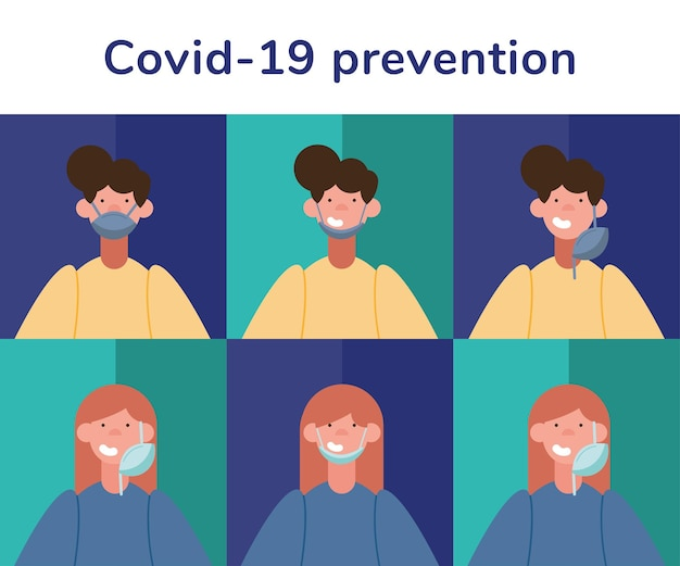 Covid19 prevention infographics with people wearing medical masks and lettering
