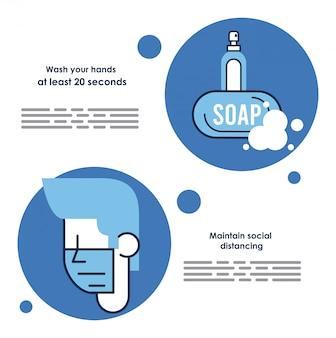 Covid19 prevention recommendations vector illustration design